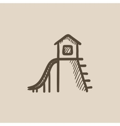 Playhouse with slide sketch icon vector image