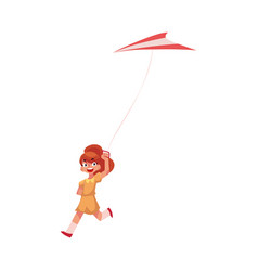 pretty teenage girl running with colorful kite vector image