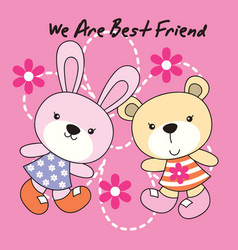 Rabbit and bear with flower dot background vector