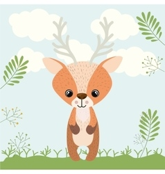 reindeer cute woodland icon vector image