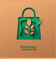 Responsible consumption green 3d papercut concept vector