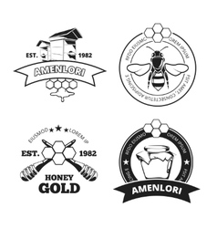 Retro beekeeper honey emblems logos in vector image