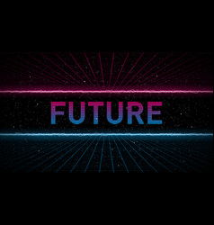 Retrowave pink and blue laser perspective grid vector