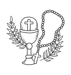 Sacred chalice with rosary vector