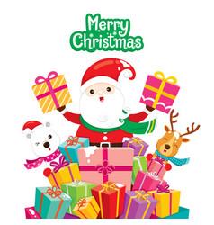 Santa claus reindeer and polar bear with pile of vector