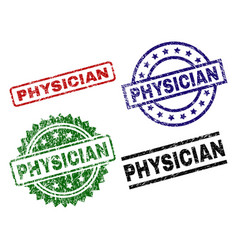 Scratched textured physician seal stamps vector