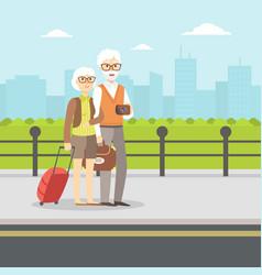 senior couple waiting for transport elderly vector image