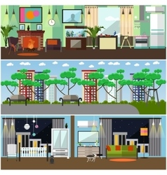 set family interior concept design vector image