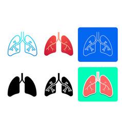 Set lung icons and symbol in art design vector
