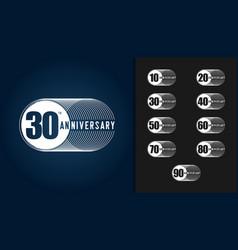 set of anniversary logotype vector image