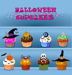 set of cute happy halloween cupcakes on blue vector image