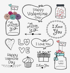 set of valentine day labels and typography vector image