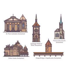 set switzerland architecture landmarks in line vector image