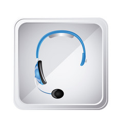 Silver emblem headphone service icon vector
