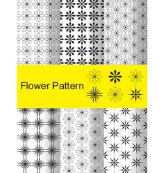 Six flower pattern vector