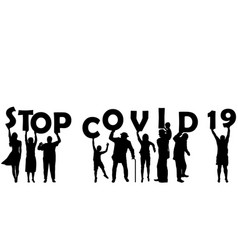 Stop covid 19 coronavirus with silhouette of vector