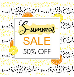 Summer sale layout banner with orange and lemon vector