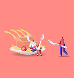 Tiny male and female characters at huge plate vector