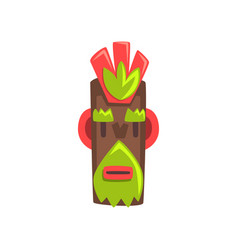 tribal mask idol carved wooden statue cartoon vector image