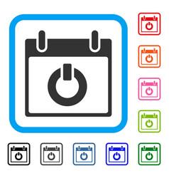 Turn on calendar day framed icon vector