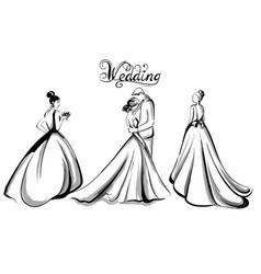 wedding couple silhouette line art vector image