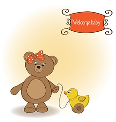 welcome baby card with girl teddy bear and her vector image