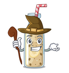 witch healthy banana smoothie in cartoon glass vector image