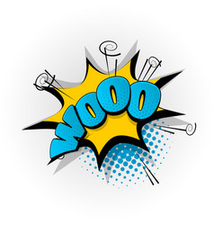 Woo boo comic book text pop art vector