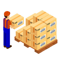 worker or postman wearing work clothes holding box vector image