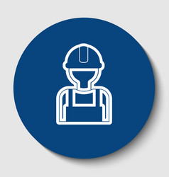 worker sign white contour icon in dark vector image