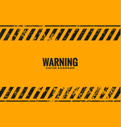 yellow warning background with black stripes lines vector image