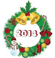 2014 Christmas wreath vector image vector image