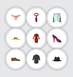 flat icon clothes set of male footware lingerie vector image