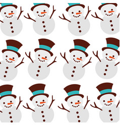 christmas snowman cartoon smile seamless pattern vector image