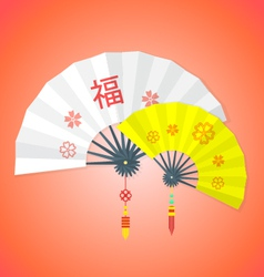 flat style chinese new year fans vector image vector image