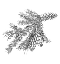Realistic vintage engraving wreath of fir branches vector image