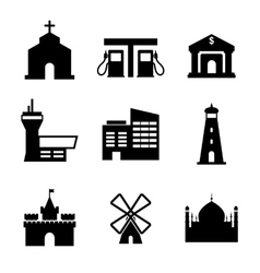 Architecture and buildings icons vector image