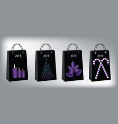 Christmas shopping bags vector image vector image