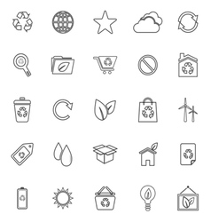 Ecology line icons on white background vector image vector image