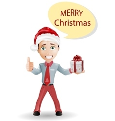 Funny boy and Christmas isolated on white vector image vector image