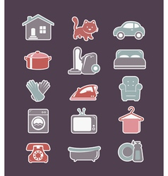 House cleaning and household appliances flat icons vector image vector image