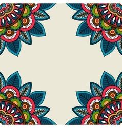 Indian doodle floral corners frame vector image vector image