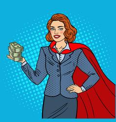 pop art super businesswoman in red cape vector image vector image