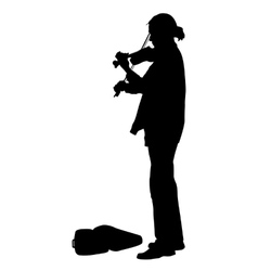 Silhouette street violinist on white background vector image