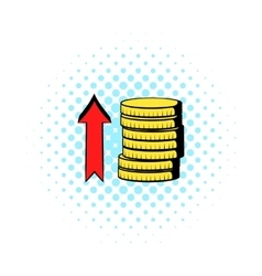 Stacks of coins with red arrow icon comics style vector image vector image