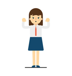 Surprised young woman with hands up gesture vector