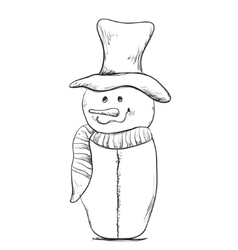 Christmas Snowman hand drawn winter vector image vector image
