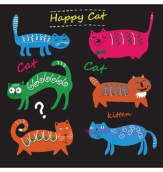 Set of cute cats vector image