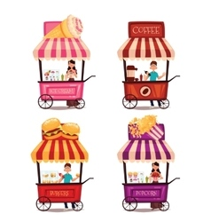 Set of different carriages with fast food vector image