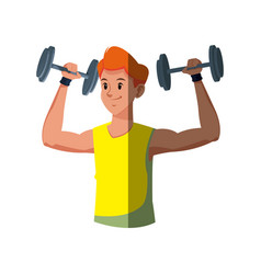 Sport man weight fitness gym workout vector
